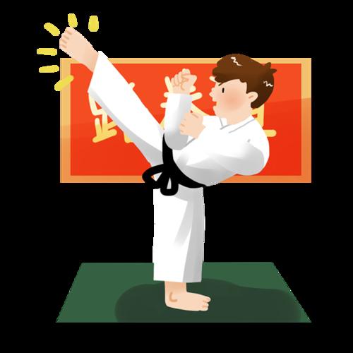 卡通跆拳道男孩图片