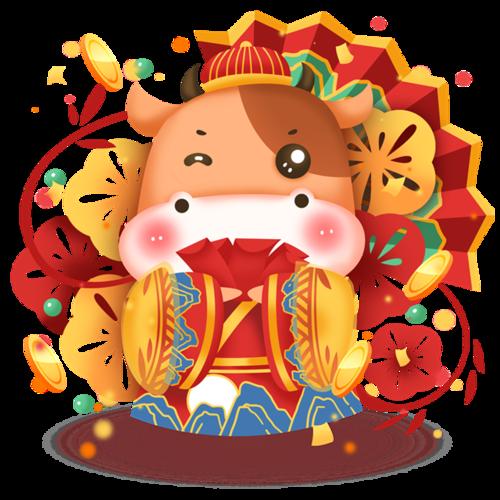春节拜年牛娃娃图片