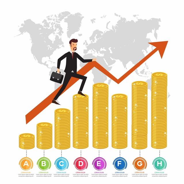 金融增长箭头上的商务男士