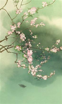 水墨画桃花背景图片