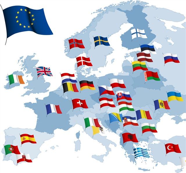 世界地图和国旗标志