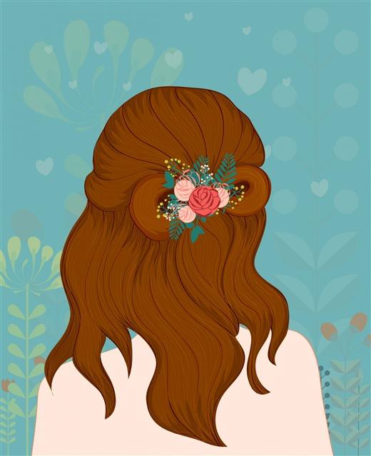 美女背面发型插画