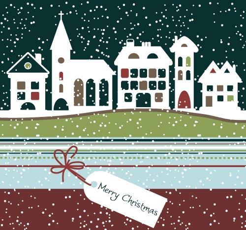 圣诞节雪夜背景图