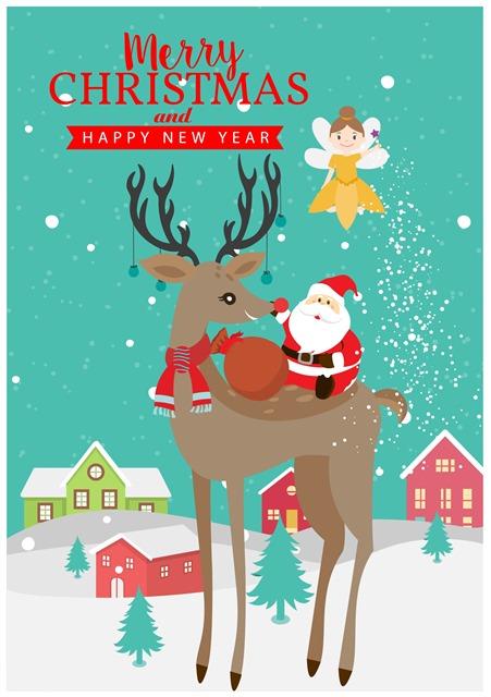 扁平风圣诞节主题插画