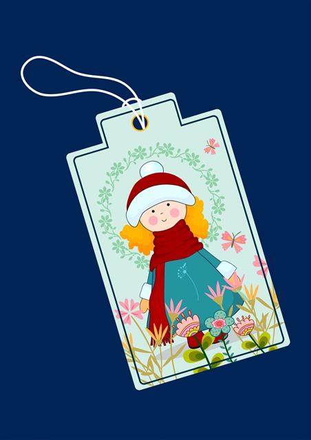 可爱女孩圣诞节吊牌标签