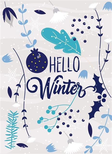 你好冬天插画图片