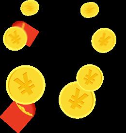 金黄色金币红包漂浮元素