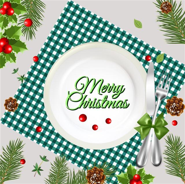 圣诞节装饰餐桌餐具矢量素材