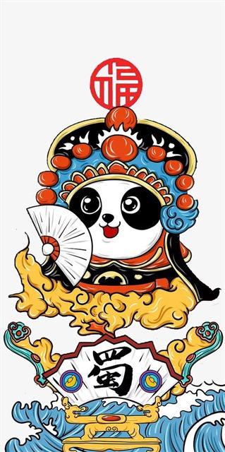 卡通可爱熊猫国潮风脸谱图片