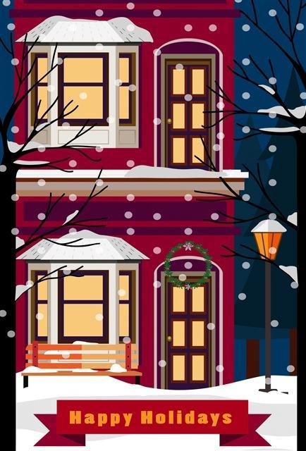 圣诞雪夜下的房屋雪景图片