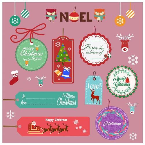 扁平化圣诞节贴纸