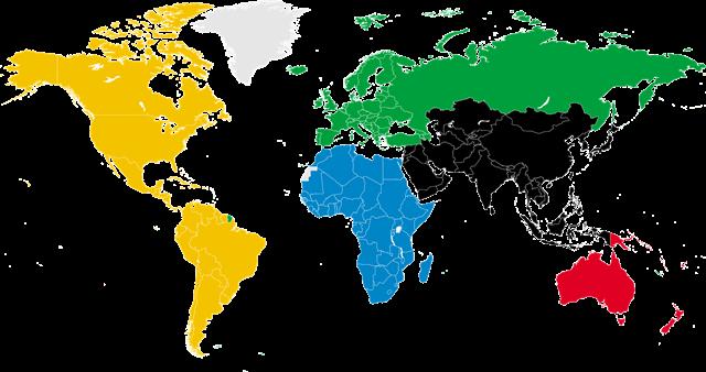 彩色矢量世界地图