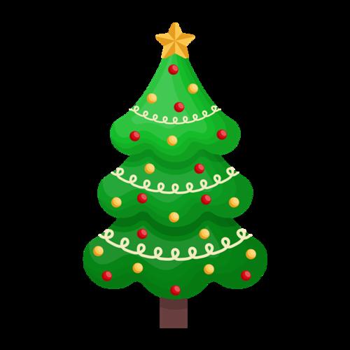 圣诞树手绘矢量免抠图