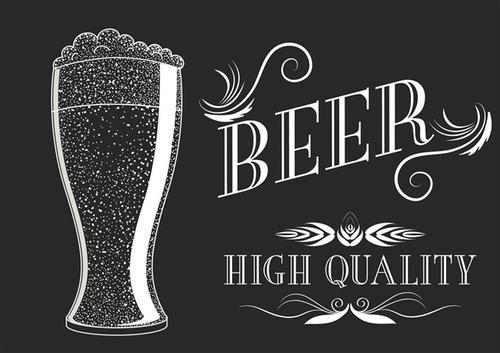 啤酒饮料矢量插图
