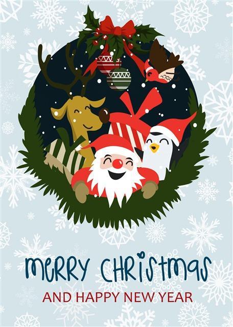 2020圣诞节插画海报