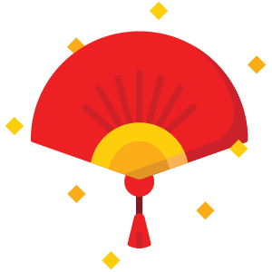 中国风红色喜庆扇子图片