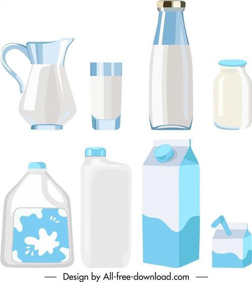 各种牛奶包装盒