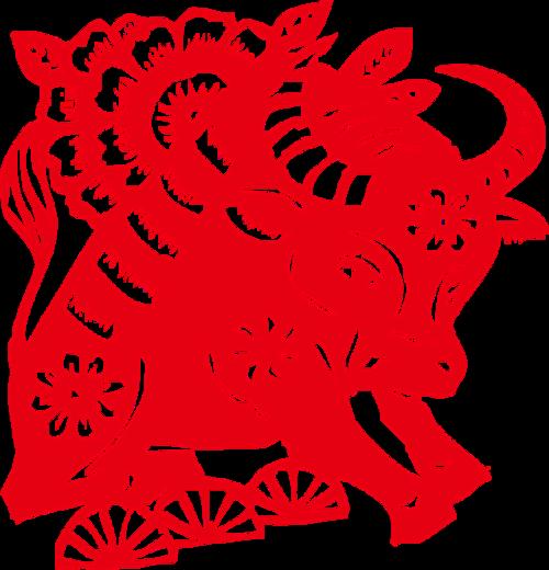 中国红剪纸牛图案图片