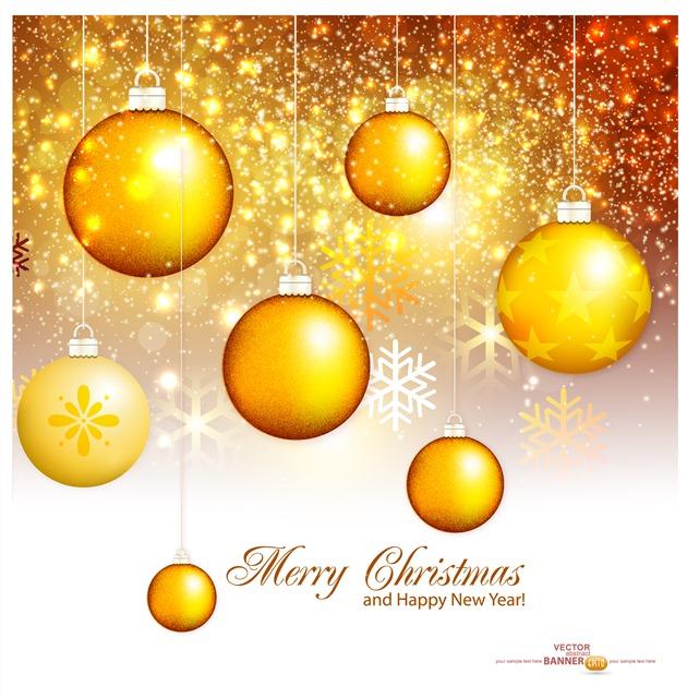 金色闪亮雪花圆球装饰