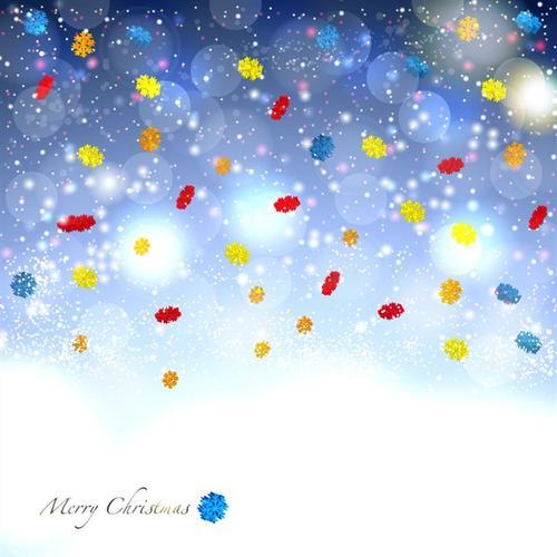 冬季彩色雪花图案背景图片