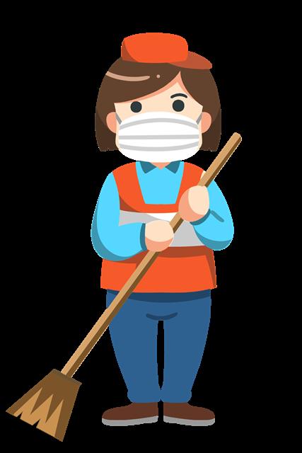 环卫工人戴口罩标志