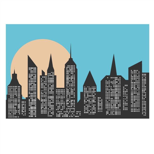 城市建筑景色矢量图