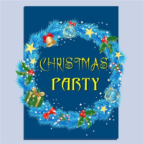 华丽装饰蓝色圣诞节花圈