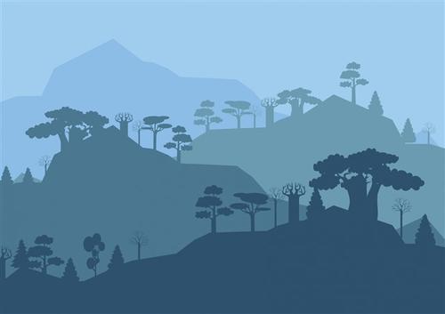 山脉树木艺术剪影装饰