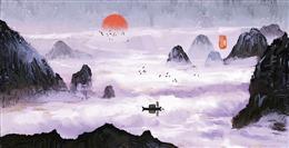 古风山峰云海背景图