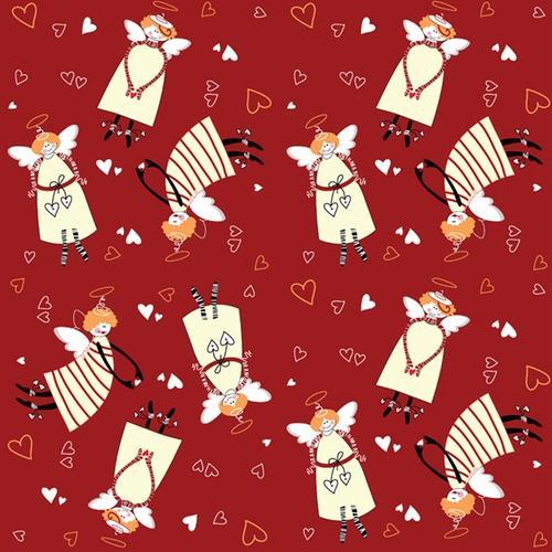 卡通天使彩绘圣诞节无缝背景图