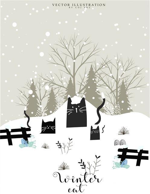 原创手绘雪地里的猫插画图片