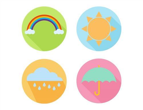 晴天下雨彩虹天气图标