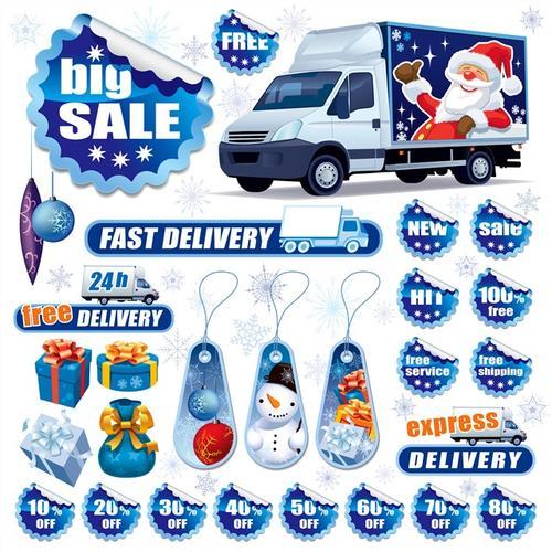蓝色精美圣诞节标签