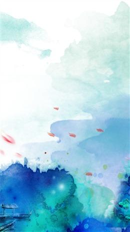 山水水彩背景图片