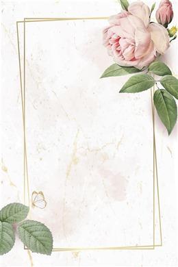 花卉金色边框文艺背景图片