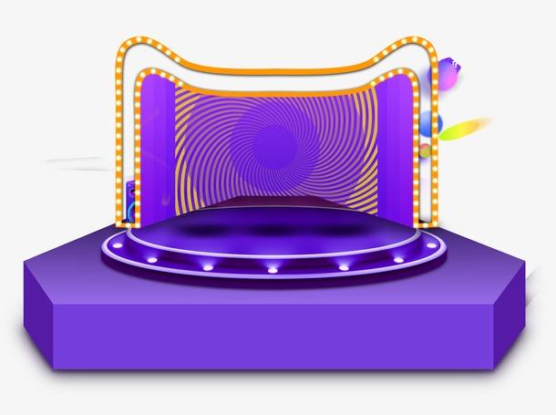 双十二紫色炫酷舞台素材