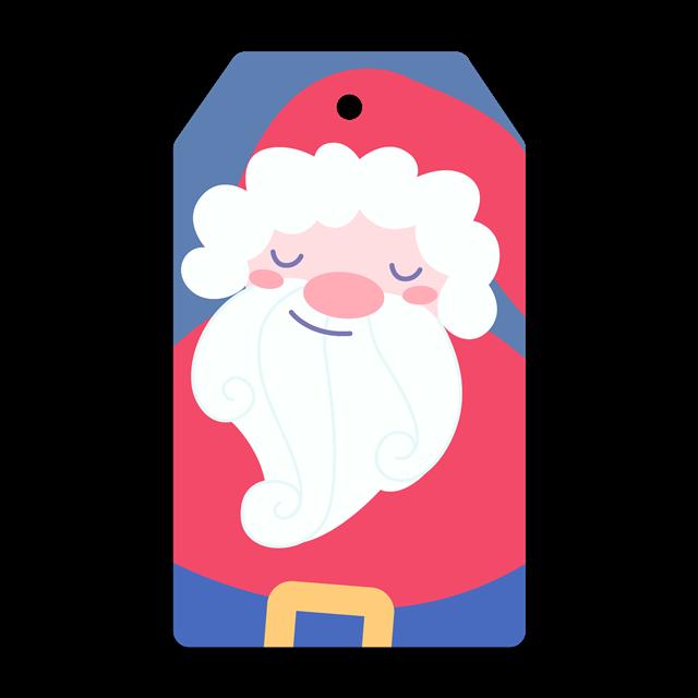 扁平化圣诞老人标签