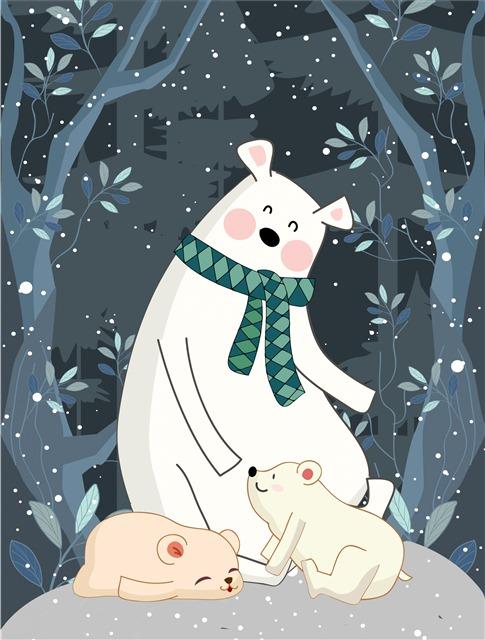 冬天北极熊插画背景