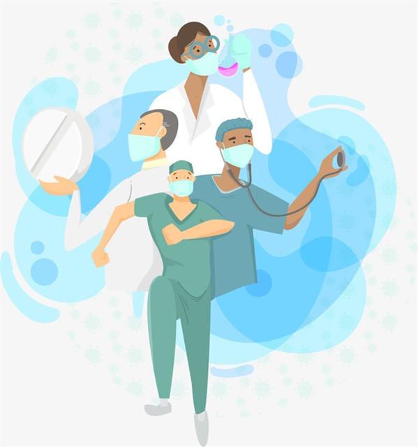 卡通一线抗疫医生图片