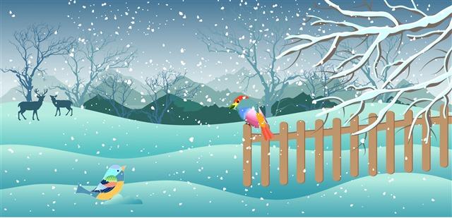 初冬的雪景插画