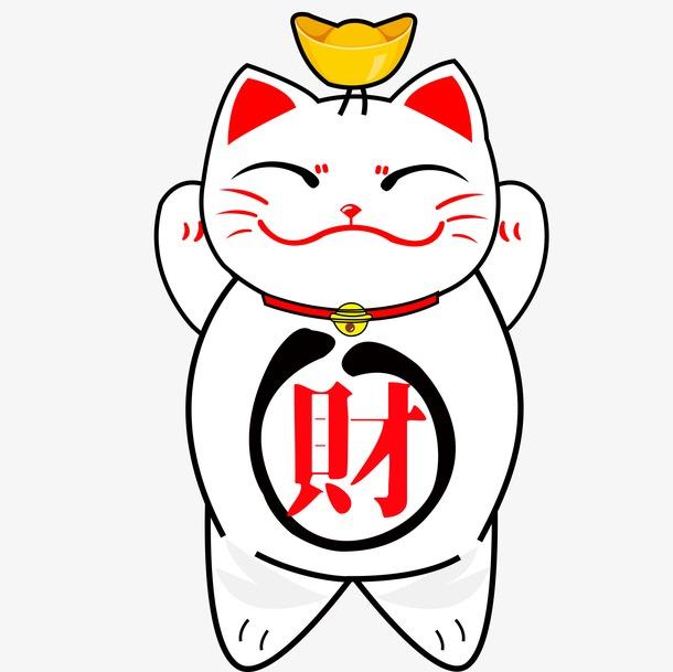 招财猫简笔画图片彩色