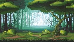 生机森林漫画插画图片
