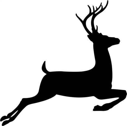黑色麋鹿剪影图片