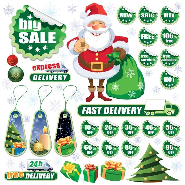圣诞节促销标签矢量