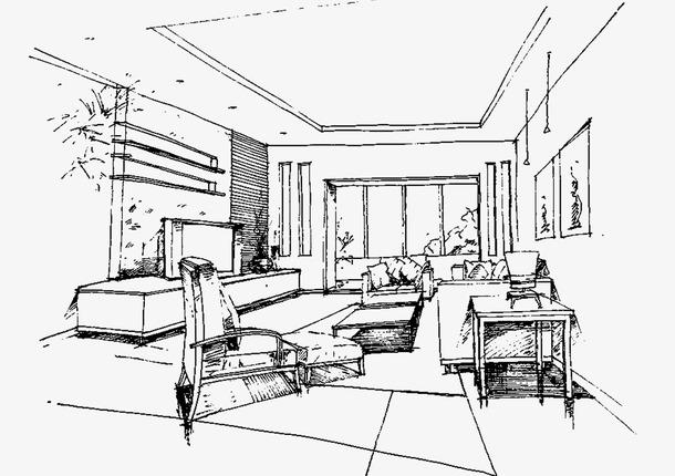 手绘客厅效果图