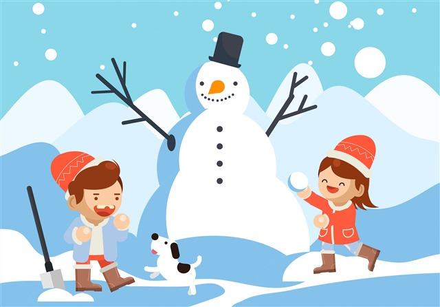 冬天雪人小孩插画