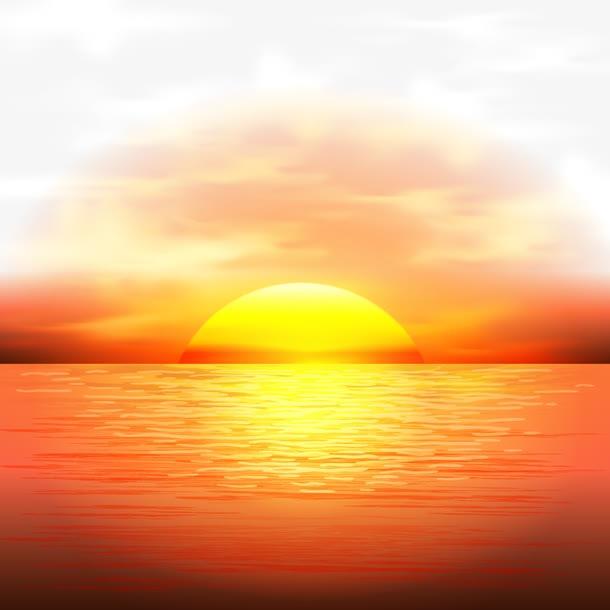 海面黄昏图片