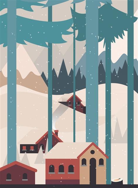 冬天小屋插画