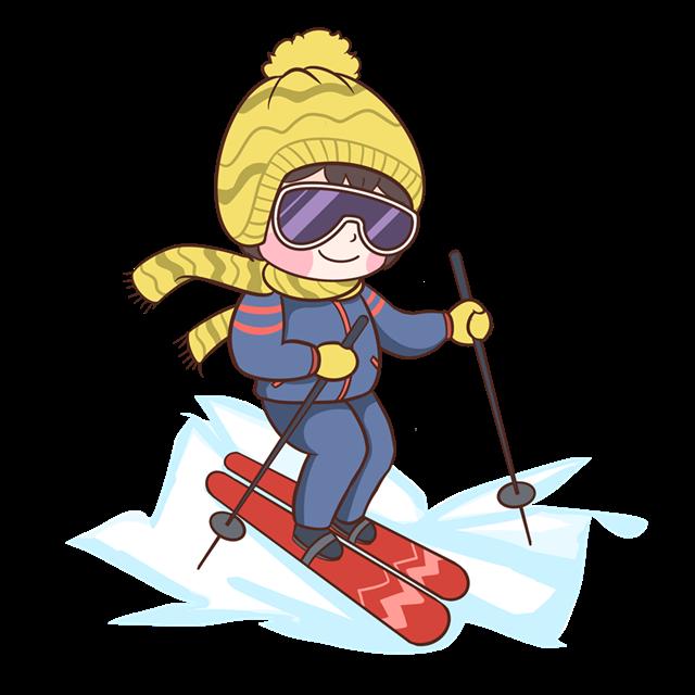 卡通户外滑雪插画
