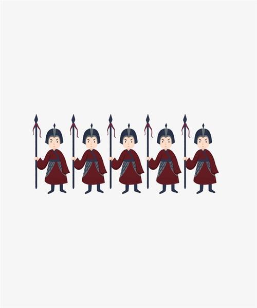 卡通手绘古代士兵插画